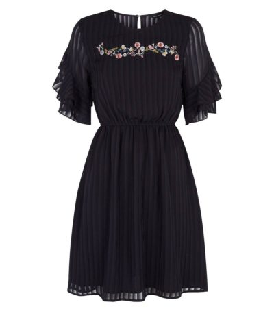 New Look Black Embroidered Chiffon Dress