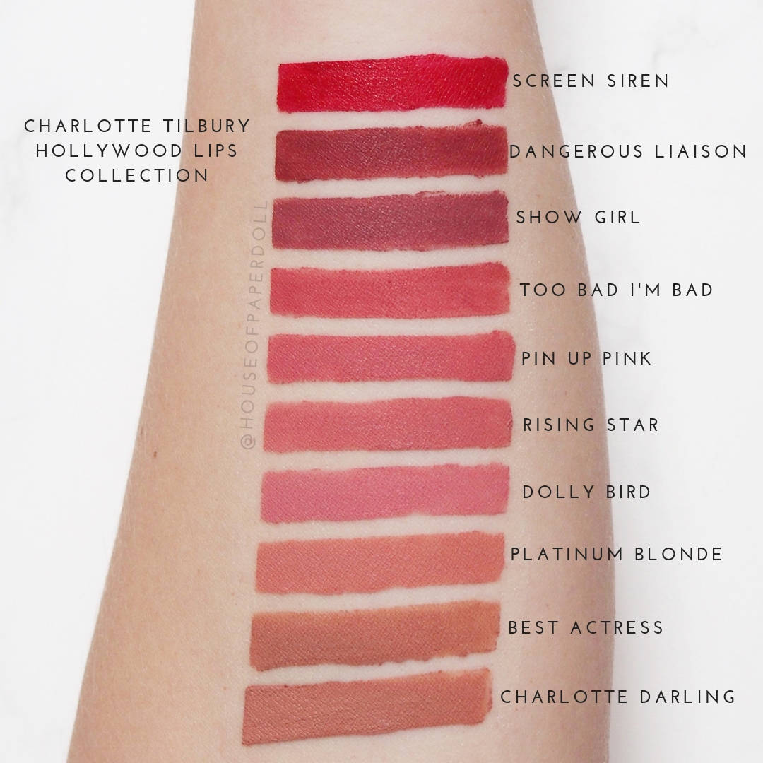 charlotte tilbury hollywood lip swatches